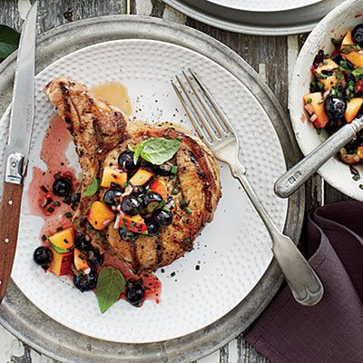 Grilled Pork Chops with Blueberry-Peach Salsa - Fresh Blueberry Recipes - Southern Living