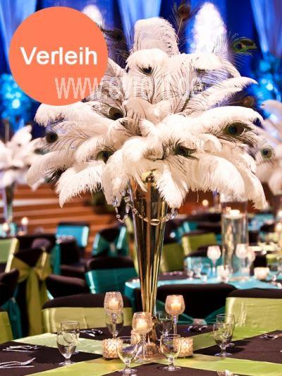 Dekoration mieten und vermieten | Straußenfeder in Vase, mit Beleuchtung