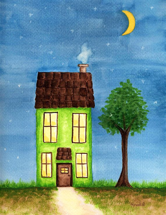 Items similar to Original Watercolor Painting Green House Tree Yellow Moon Blue Night Sky Stars Path Storybook Style Illustration Whimsical Home Glow Yellow on Etsy