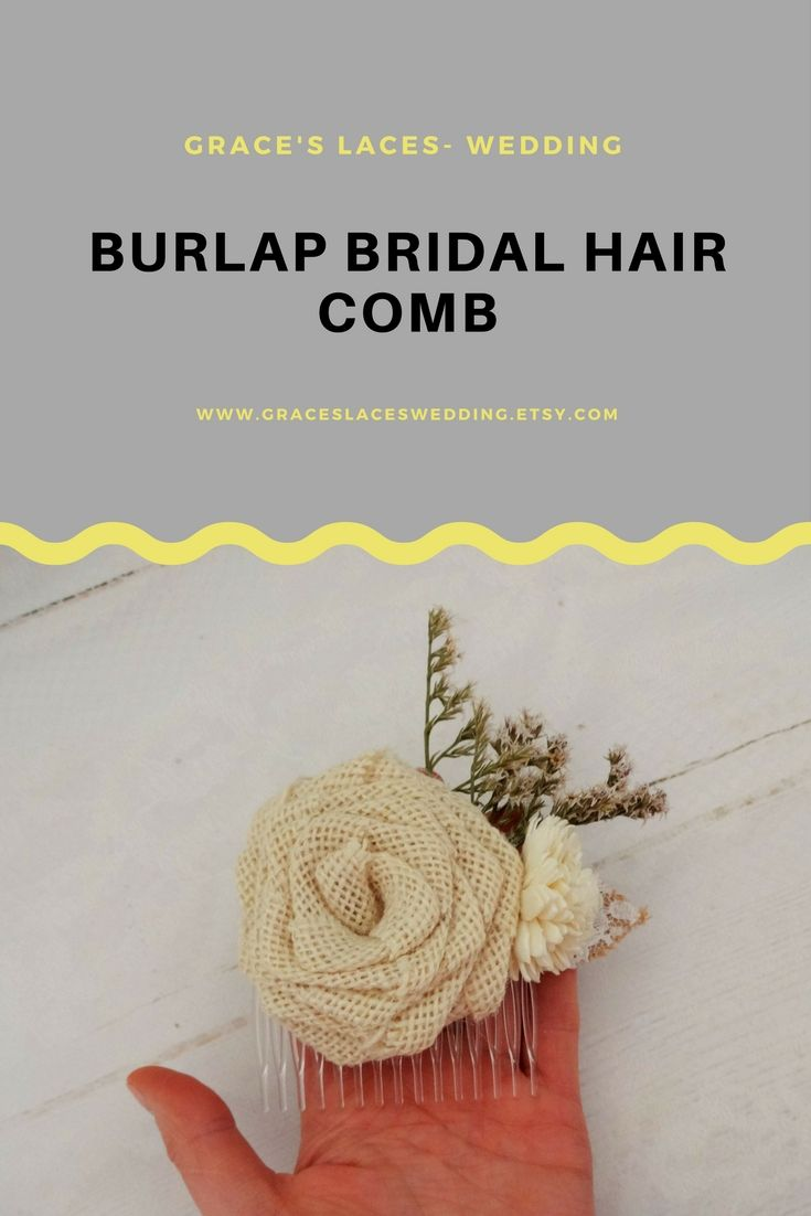 Burlap bridal hair comb for a rustic or bohemian wedding. #bridalhaircomb #weddinghaircomb #burlaphaircomb #bohohaircomb #rustichaircomb