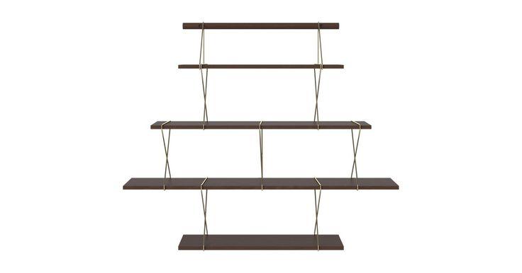 X-shelf er et minimalistisk hyllesystem fra Hertel & Klarhöfer med et cool nordisk uttrykk. Hyllene er laget i tre og metall og fås i flere størrelser. Hold det minimalistisk med et enkelt oppsett eller miks størrelsene på kryss og tvers.