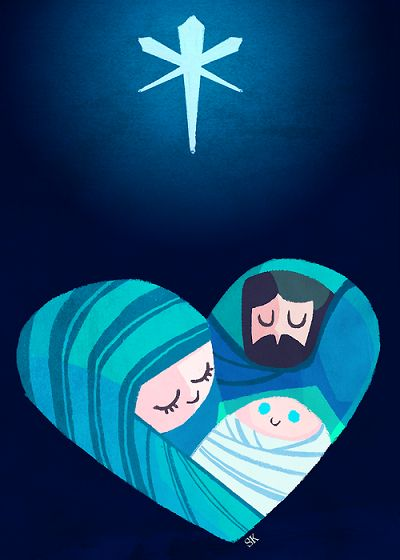 Holy Family: Joined under star - Single family of simple origins - Honored by all.