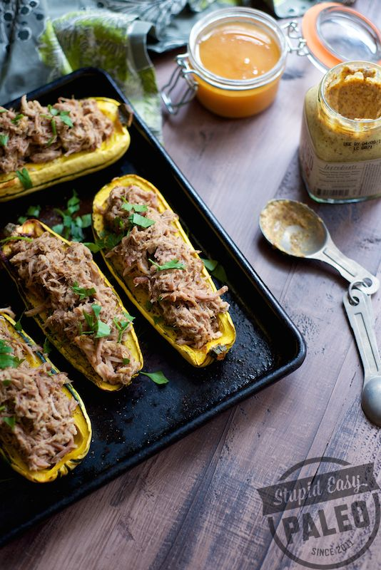 Paleo Pulled Pork Stuffed Squash | stupid easy paleo