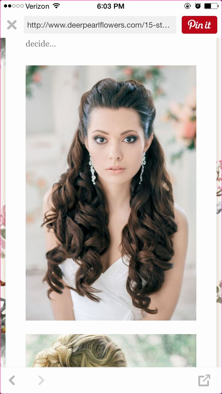 Hairstyles Curls Long Half Pinned