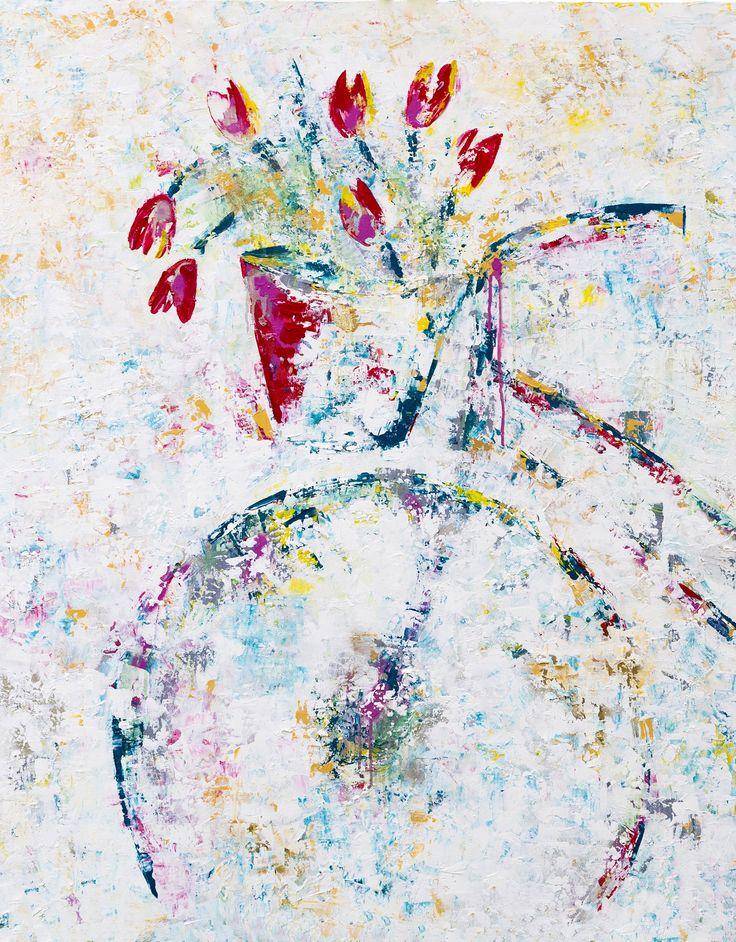Bicycle #07 - Acrylic and spray paint on canvas - 89 x 116 cm - by Paula Rindborg.