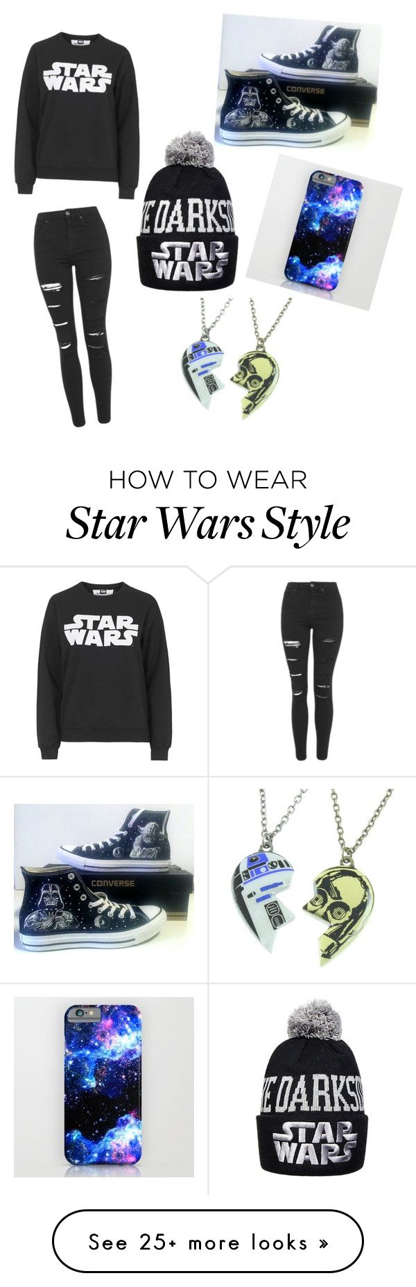 """Star Wars"" by ashley51702 on Polyvore featuring Tee and Cake, Topshop, Converse and R2"