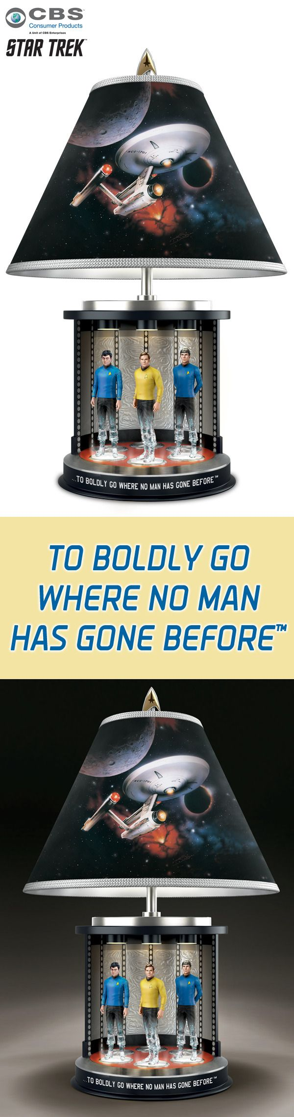 Experience the iconic TV moment where Captain Kirk, Mr. Spock and Dr. McCoy step into the transporter to beam down to the unknown in this limited-edition STAR TREK lamp.