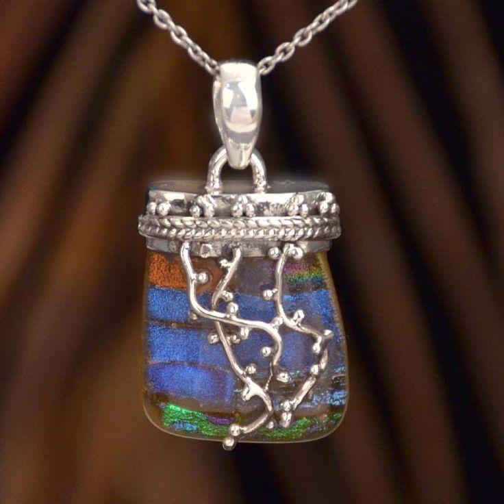 "DICHORIC GLASS SOLID 925 STERLING SILVER PENDANT 12.11g DJP8996 L-1.60"" #Handmade #Pendant"
