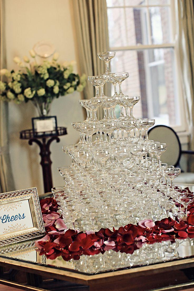 Champagne Waterfall Tower : Art Deco Vintage Wedding.