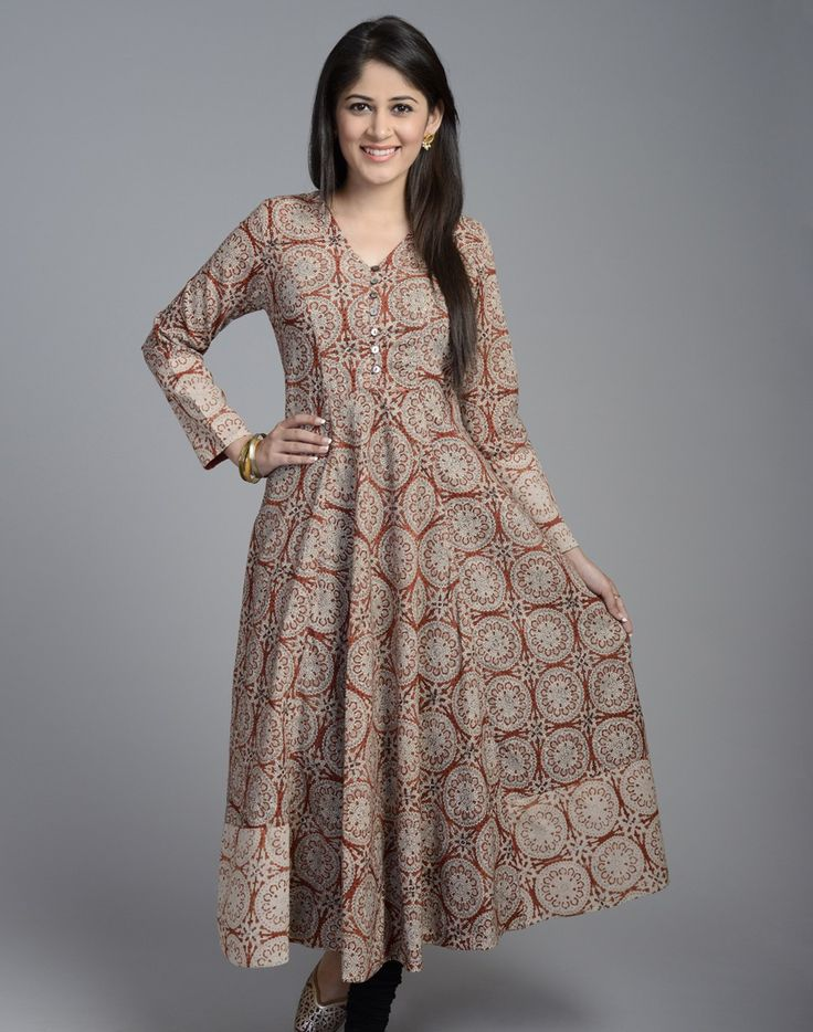 Cotton Printed Anarkali Full Sleeves Long Kurta