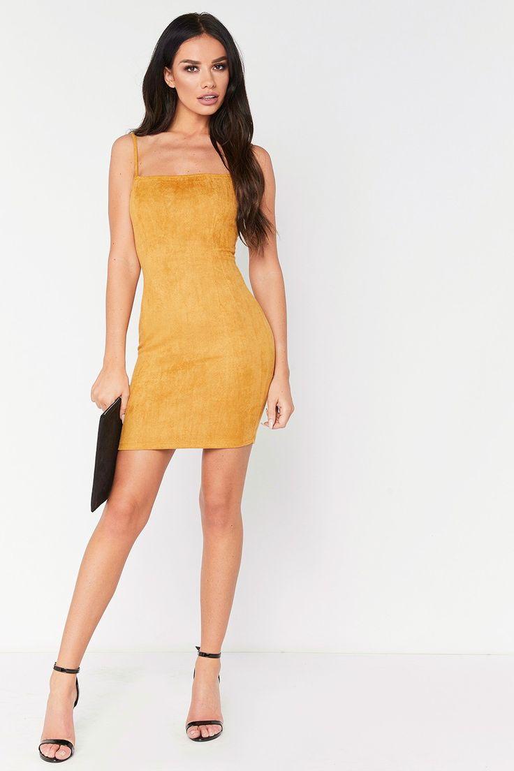 Victoria Mustard Suede Cami Mini Bodycon Dress