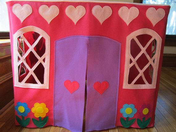 Card Table Playhouse Tent Pink Princess Castle Tent Felt Play Tent Table Tent Castle Girls Play Tent Fort | Card table playhouse Princess castle and ... & Card Table Playhouse Tent Pink Princess Castle Tent Felt Play ...