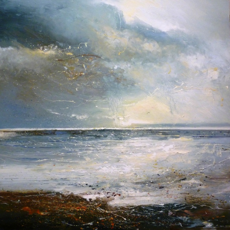 'Oceanic' by Claire Wiltsher - mixed media - 80cm x 80cm - £895 www.lyndhurstgallery.co.uk
