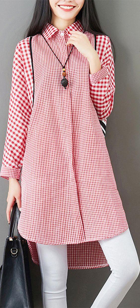Plaid Patchwork Button Pocket Casual Shirt for Women #shirt #fashion #spring
