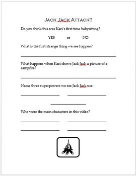 """This is a companion worksheet for the Disney short Jack Jack Attack!  This video is school appropriate.The video link can be found here: https://www.youtube.com/watch?v=HwVZH9lKjTMThis worksheet focuses on """"wh""""- questions, feelings and intentions of characters, perspective taking, and problem solving."""