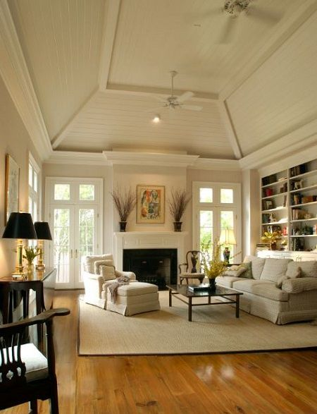 Tray Ceiling with Heart Pine Floors from Carlisle Wide Plank Floors