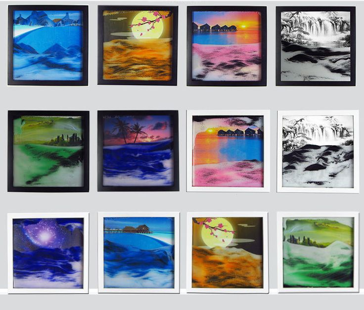1x framed sand art moving sand picture desktop art