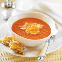 Roasted Tomato Soup with Cheesy Flatbread