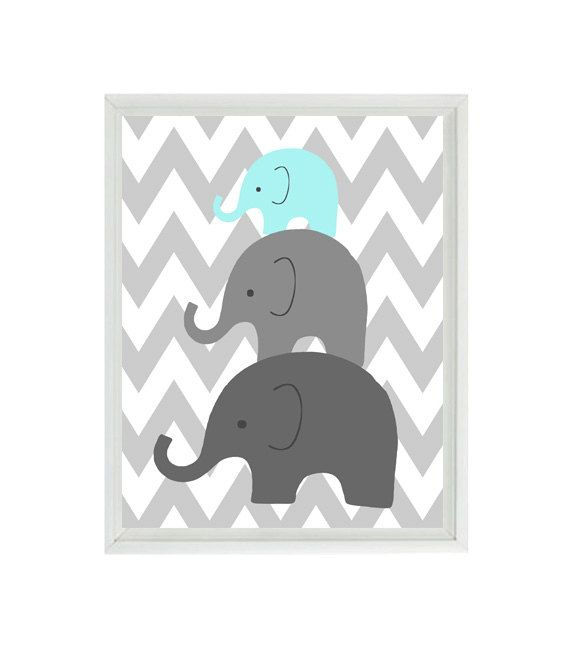 Elephant Nursery Wall Art Chevron  - Mom Baby Dad Family Aqua Gray Decor - Children Kid Baby Room - Wall Art Home Decor 8x10 Print on Etsy, $15.00