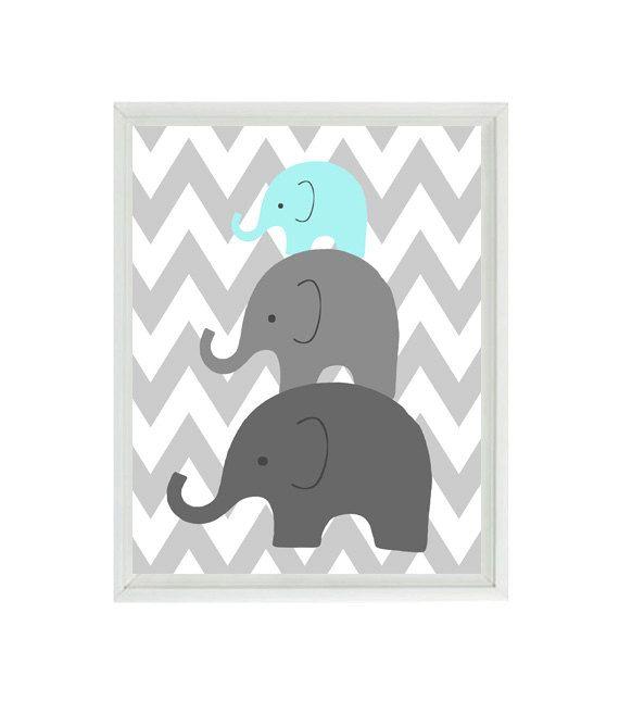 Elephant Nursery Wall Art Chevron  - Mom Baby Dad Family Aqua Gray Decor - Children Kid Baby Room - Wall Art Home Decor 8x10 Print on Etsy, $15.00