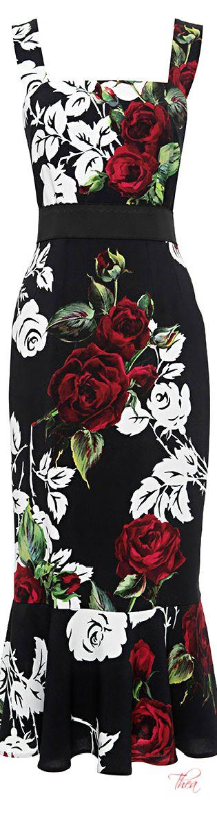 Dolce & Gabbana ● Fall 2015, Rose Print Flounce Hem Dress. Please like http://www.facebook.com/RagDollMagazine and follow Rag Doll on pinterest and @RagDollMagBlog @priscillacita https://www.bloglovin.com/blogs/rag-doll-13744543 subscribe to https://www.youtube.com/channel/UC-CB-g60FwQ4U1sJ3ur-Bug/feed?