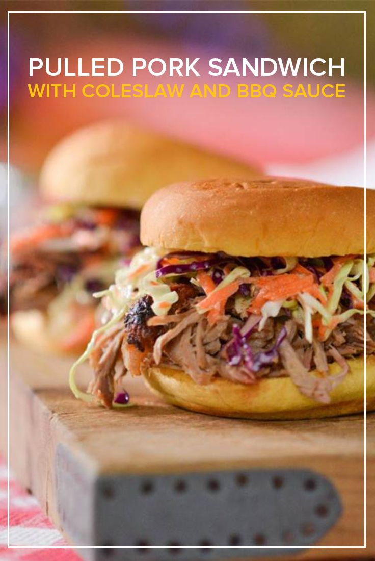 Pulled Pork Sandwich with Coleslaw and BBQ Sauce | Recipe | Pork ...