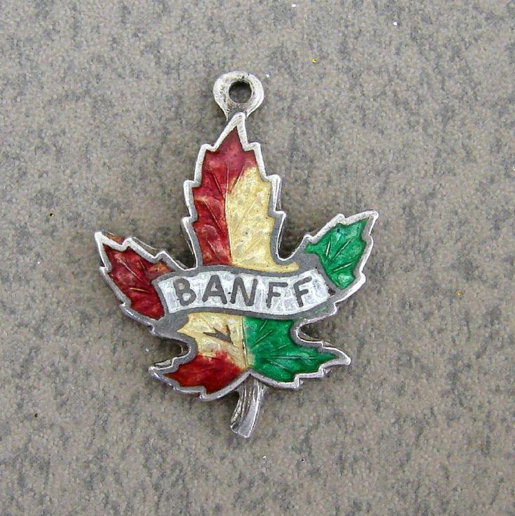 Sterling Silver Enamel Banff Canada Maple Leaf Bracelet Charm BMCo