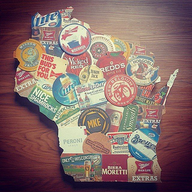Wooden Wisconsin cutout with beer coasters. Only seemed fitting for WI - 16 Best Images About My Reclaimed Wood Crafts On Pinterest