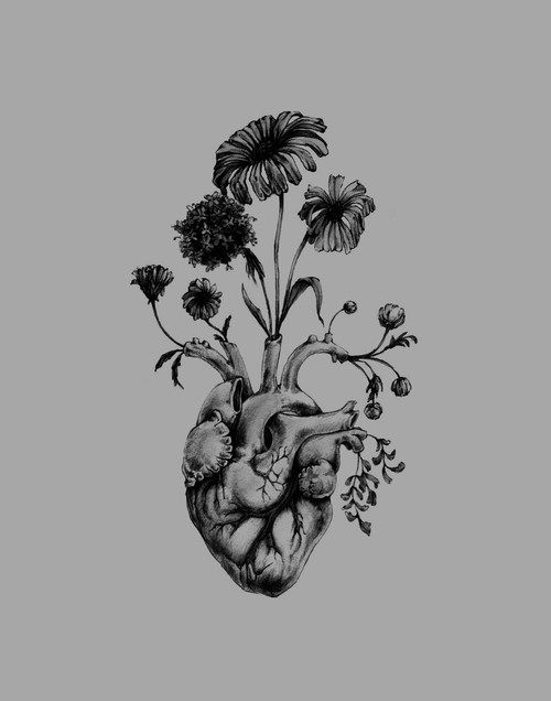 Blooming Heart- painting, art, anatomy, valentine, floral perhaps with a brain or skull