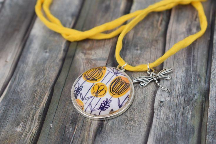 Kette Halskette Kette Frau Anhangerkette Cabochonkette Seidenbandkette Lange Kette Blumen Tulpen Mohnblumen 3 Ribbon Necklace Chain Pendant Necklace