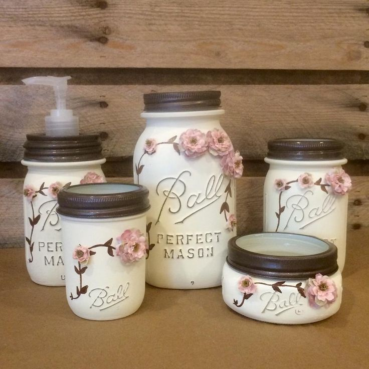 Shabby chic mason jar bathroom set mason jar desk set for Bathroom decor mason jars