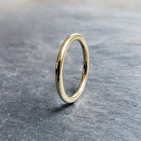 2mm Solid 18k Gold Wedding Band In Smooth Hammered Or Matte Finish Thick Full Round Halo Ring 18k Gold Wedding Bands Gold Wedding Band Round Halo Ring