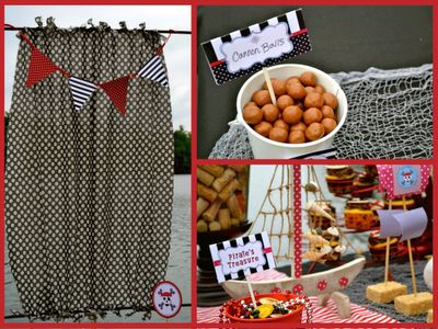 CANNON BALLS (donut holes) PIRATE TREASURE (chocolate coins, hard candy jewels, candy jewelry)