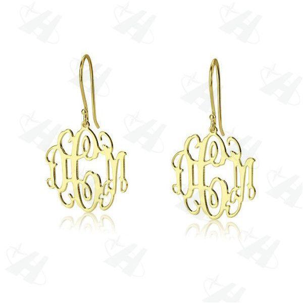 Custom Monogram Initial Earrings Personalized Name Dangle Earring Gold Earrings for Women Personalized Fashion Earrings 2014