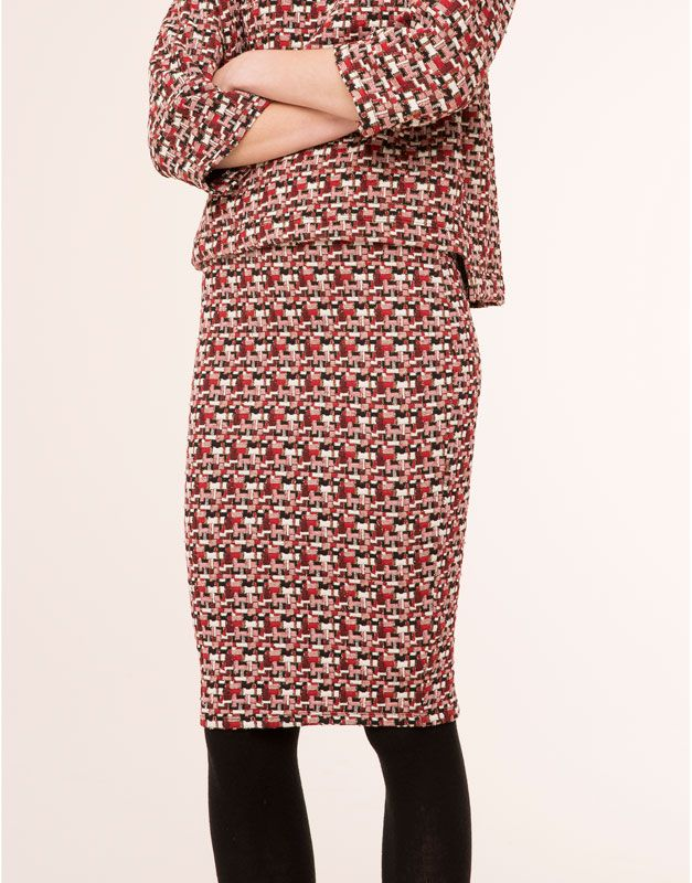 Pull&Bear - woman - skirts - glitter print pencil skirt - ecru - 05398340-V2016