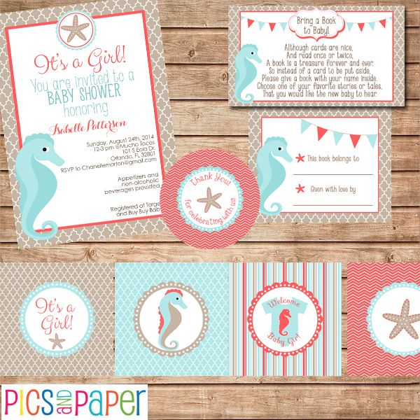 Aqua and Coral Baby Shower Kit- Beach Theme Just change it to 2nd birthday stuff