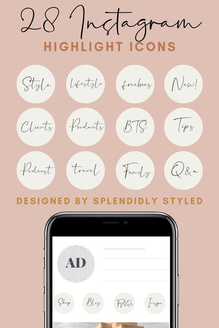 Canva Instagram Highlight Icons Handwritten Highlight Icons Blush Pink Instagram Highlight Icons Beginner Instagram Highlights