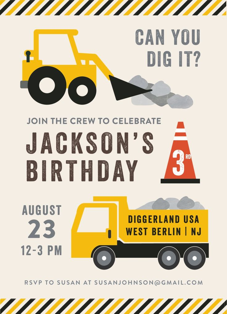 "Party Zone children's birthday party invitation. Includes trucks, construction cones, stripes, and cute ""Can you dig it?"" saying. Party Zone Party styling by Happy Wish Company. Photography by Tammy Hughes Photography. Stationery by Minted artist, Anne Holmquist."