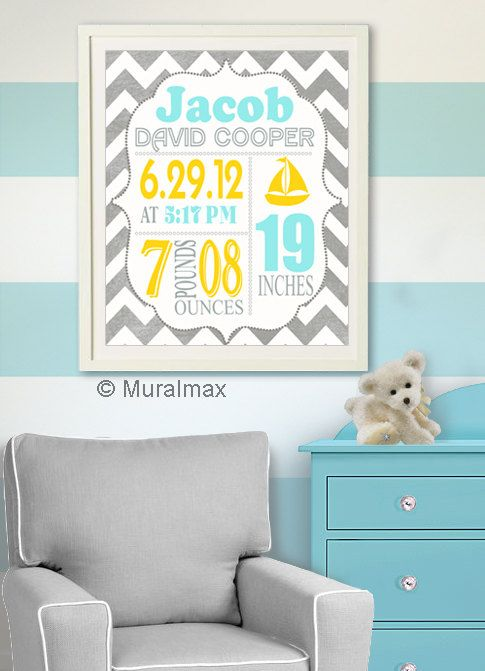 Birth Announcement Wall Art Baby Boy announcement by MuralMAX, $20.00 #babynursery #nurserydecor #boysroomdecor #birtannouncement
