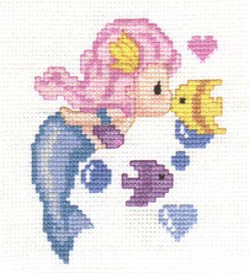 Cross stitch - fairies: Mermaid kissing a fish (free pattern with chart)
