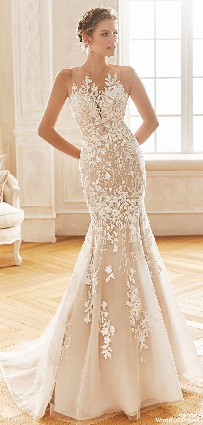 La Sposa 2019 Wedding Dresses Illusion Neckline Wedding Dress