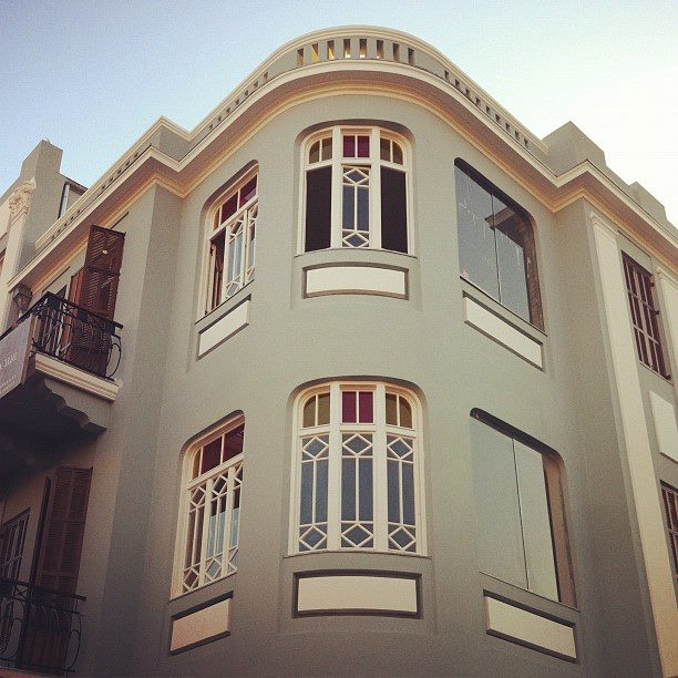 Newly renovated building in Tel Aviv also in the style of architecture that combined Eastern flavors with Western influences in the early 1900's.