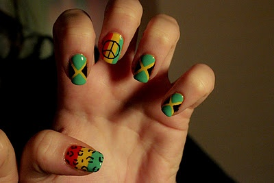 Jamaican nails...puts me in a Bob Marley mood :)