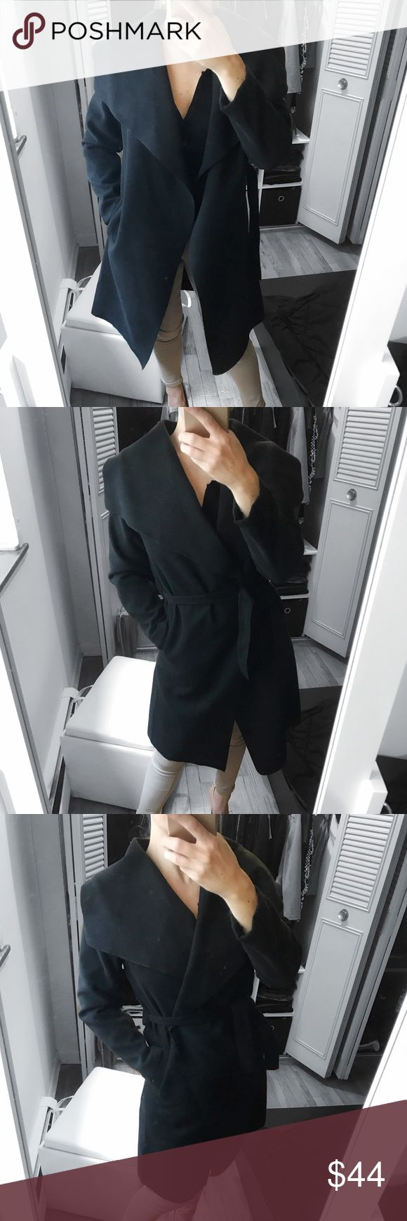 """🔁Black Wrap Waterfall Belt Coat Restocked!   ❥MATERIAL : 80 % Polyester, 20 % Viscose  ❥MEASUREMENTS: One size :  20"""" pit to pit , 36 """" lenght 23 """" Sleeve  ❥FEATURES : waterfall collar, open front, simple long sleeves, double pocket sides, belted waist, longline design, soft finish, lightweight , wool look fabric  ✦Modeling One Size : I'm 5' 5"""" and 132 lbs   ( bust 34 