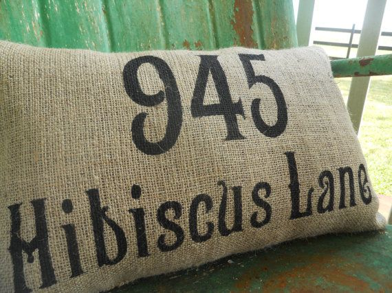 Personalized Address House Number Burlap Pillow Throw Accent Pillow Custom Colors Available ...