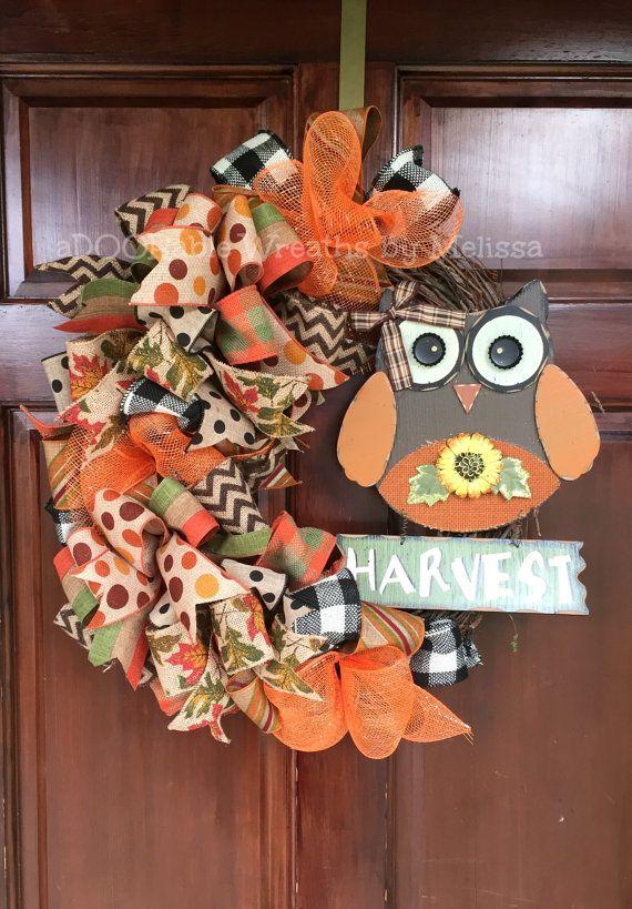 Owl Wreath, Fall Wreath, Grapevine Wreath, aDOORable Wreaths by Melissa