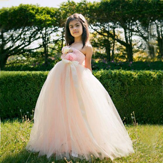 floor length peach flower girl tutu dress for wedding party gowns425
