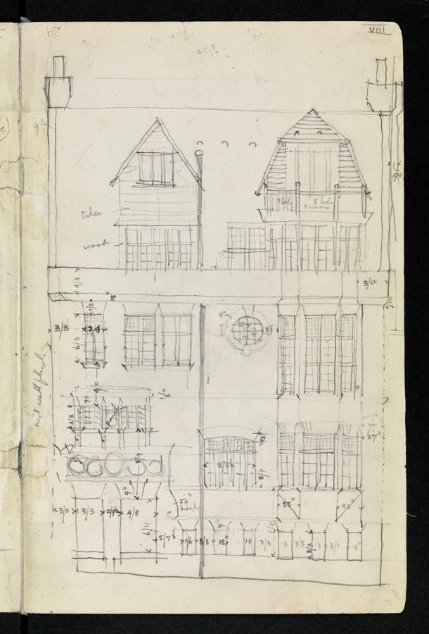Mackintosh Sketcher's Notebook: p. 28 Sketch measured elevation of an unidentified house c.1920