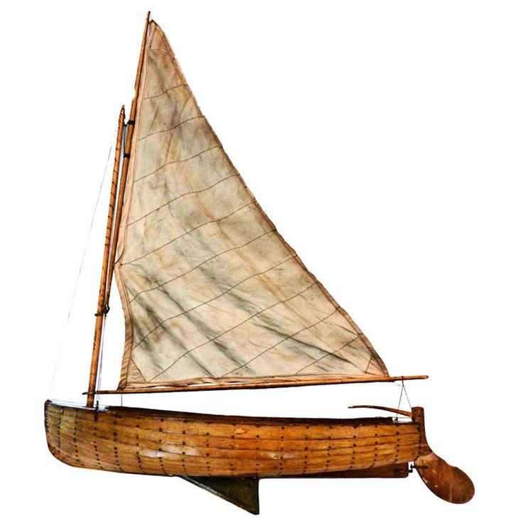 Scratch Built Sailing Dinghy Model American Nautical Folk Art at 1stdibs