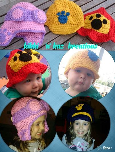 Crochet Hat Pattern Paw Patrol : Crocheted Paw Patrol Inspired Hats
